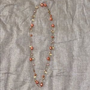 Peach and Gold Extra Long Necklace
